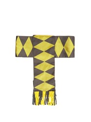 Etro Fringed Geometric Jacquard Silk Belt Yellow