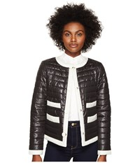 Kate Spade 22 Quilted Contrast Binding Jacket Black