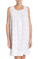 Women's Eileen West Embroidered Cotton Nightgown White Floral Embroidery