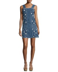 See By Chloe Sleeveless Floral Embroidered Denim Blue Dress