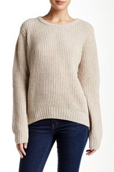 Trovata Fisherman Lambswool Sweater Brown