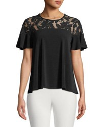 Cynthia Steffe Lace Shoulder Short Sleeve Tee Black