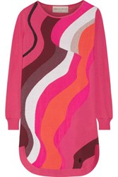 Emilio Pucci Metallic Jacquard Knit Wool Blend Mini Dress Fuchsia