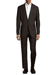 Giorgio Armani Solid Italian Woolen Suit Charcoal