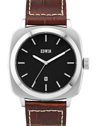 Edwin Watch Black Dial With Brown Leather Band Julius
