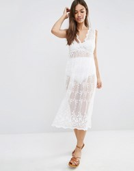 New Look Sheer Lace Midi Beach Dress White