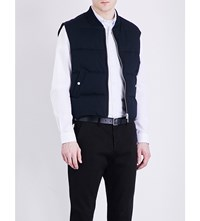Ami Alexandre Mattiussi Quilted Cotton And Linen Blend Gilet Navy