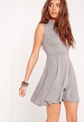 Missguided Sleeveless High Neck Cut Out Back Skater Dress Grey Grey