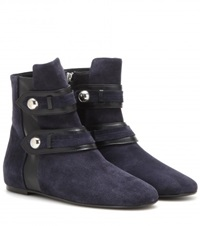 Isabel Marant Roddy Suede And Leather Ankle Boots Blue