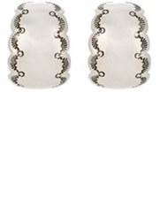 Mahnaz Collection Vintage Women's Sterling Silver Half Hoop Earrings C Colorless