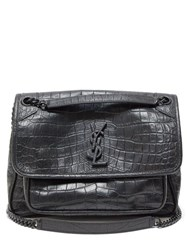Saint Laurent Niki Medium Crocodile Effect Leather Shoulder Bag Black