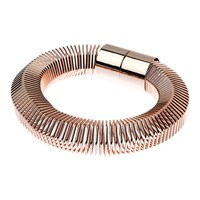 Adele Marie Hexagonal Big Spring Magnetic Clasp Stretch Bracelet Rose Gold