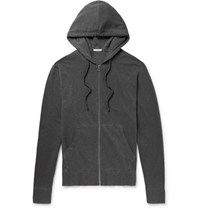 James Perse Loopback Supima Cotton Jersey Zip Up Hoodie Charcoal