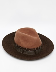 Asos Wide Brim Fedora Hat In Camel Felt With Aztec Print Band Brown