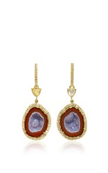 Kimberly Mcdonald Geode Water Opal And Diamond Push Back Earrings Purple