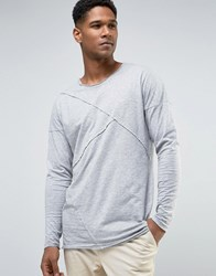Only And Sons Longline Long Sleeve T Shirt With Raw Stitch Detail Light Grey