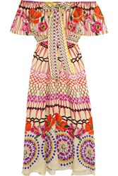 Temperley London Dream Catcher Printed Hammered Silk Satin Dress Pink