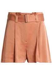 A.L.C. Belted Pleated Crepe Shorts Peach