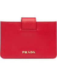 Prada Saffiano Leather Cardholder Red