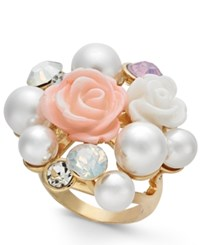 Inc International Concepts I.N.C. Gold Tone Imitation Pearl And Stone Cluster Statement Ring Created For Macy's
