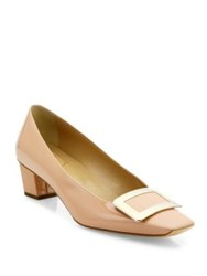 Roger Vivier Decollette Belle Patent Leather Pumps Nude