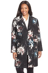 Classiques Entier Print Wool And Silk Jacqaurd Topper Plus Size Black Smokey Floral Print
