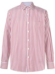 Canali Slim Fit Striped Shirt Red