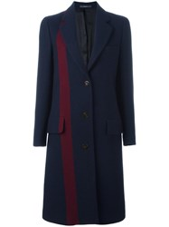 Paul Smith Stripe Detailing Mid Coat Blue
