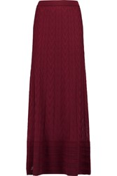 M Missoni Crochet Knit Wool Blend Maxi Skirt Red