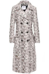 Ainea Woman Snake Print Faux Leather Trench Coat Taupe