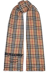 Burberry Checked Embroidered Cashmere Scarf Brown