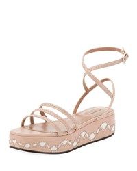 Alaia 45Mm Leather Flatform Sandals Nude
