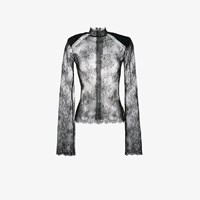 Off White Sheer Lace High Neck Top Black