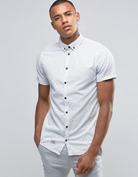 Blend Of America Short Sleeve Slim Shirt Stripe Off White