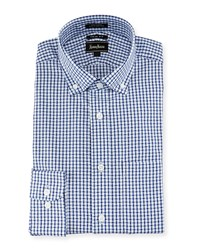 Neiman Marcus Trim Fit Check Dress Shirt Blue