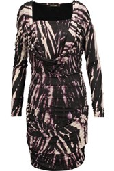 Roberto Cavalli Draped Printed Stretch Jersey Mini Dress Dark Purple