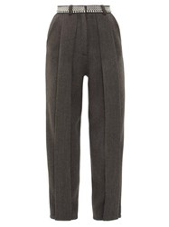 Christopher Kane Chain Belt Pleated Twill Trousers Black