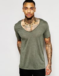 Asos T Shirt With Deep V Neck In Linen Look Fabric In Green Green