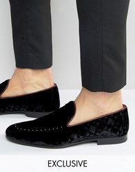 Walk London Mayfair Velvet Studded Loafers Black