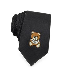 Moschino Teddy Bear Solid Silk Jacquard Narrow Tie Black