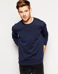 Boss Orange Jumper With Reverse Seam Crew Neck Navy