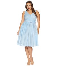 Unique Vintage Plus Size Lorna Swing Dress Light Blue Patchwork Patterns