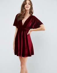 Asos Velvet Kimono Plunge Mini Skater Dress Berry Red