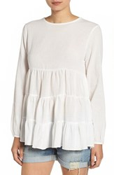 Sincerely Jules Women's 'Frida' Tiered Hem Cotton Blouse White