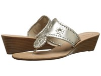 Jack Rogers Jacks Mid Wedge Platinum Women's Wedge Shoes Silver
