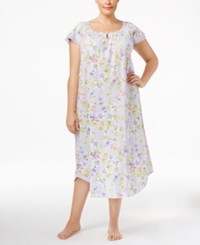 Charter Club Plus Size Flutter Sleeve Printed Nightgown Only At Macy's Botanical Floral