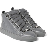 Balenciaga Arena Creased Leather High Top Sneakers Gray