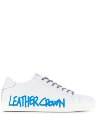 Leather Crown Logo Print Sneakers White