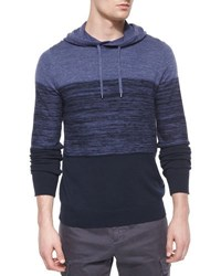 Vince Cashmere Blend Striped Hoodie Navy