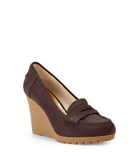 Michael Kors Rory Suede Wedge Loafer Coffee